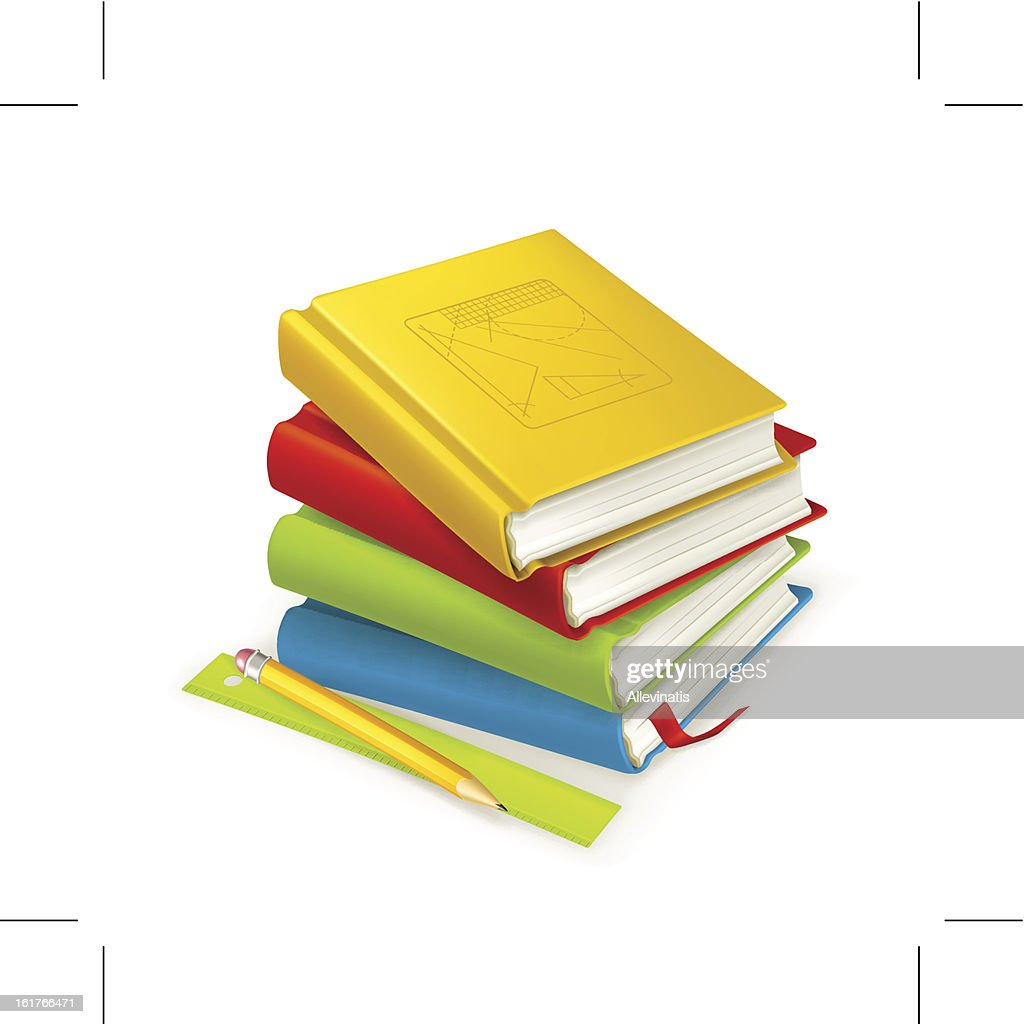 Stack of colorful textbooks next to a ruler and pencil