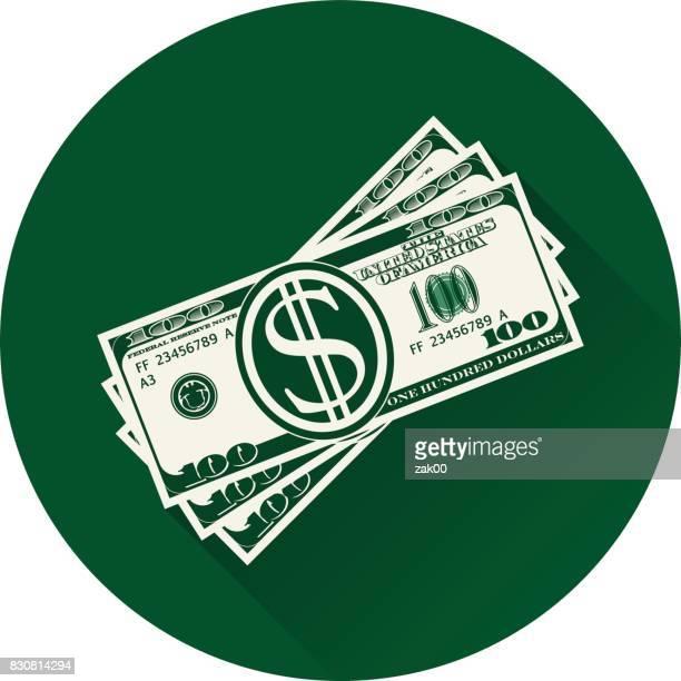 Stack of dollars. Paper bills or money
