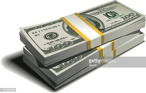 stack of dollars - us paper currency stock illustrations, clip art, cartoons, & icons