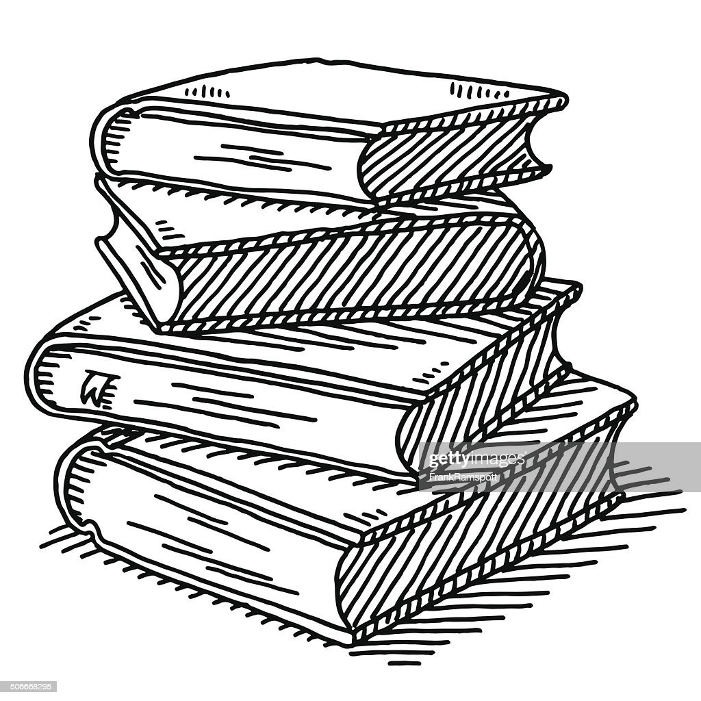 Stack Of Four Books Drawing : Stock Illustration