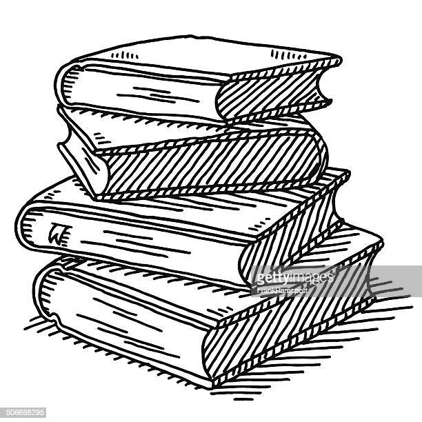 stack of four books drawing - enciclopedia stock illustrations, clip art, cartoons, & icons