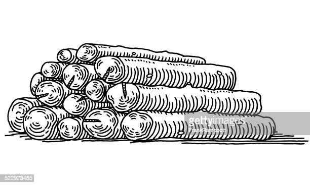 ilustrações de stock, clip art, desenhos animados e ícones de desenho pilha de registos - desmatamento