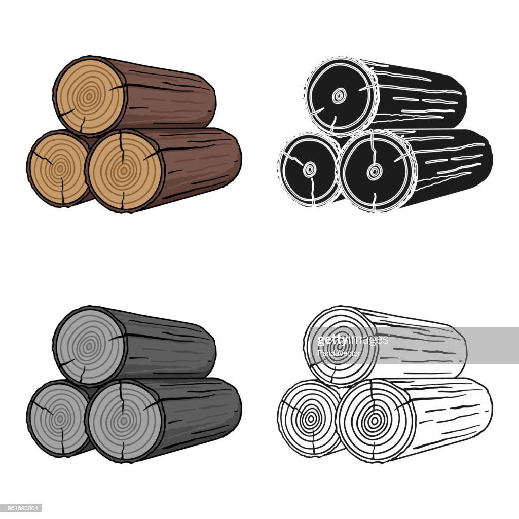 Stack of logs icon in cartoon style isolated on white background. Sawmill and timber symbol stock vector web illustration.
