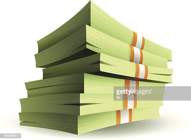 stack of money - us paper currency stock illustrations, clip art, cartoons, & icons