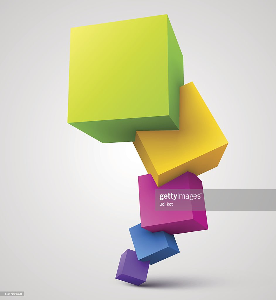 A stack of multiple colorful cubes on a gray background