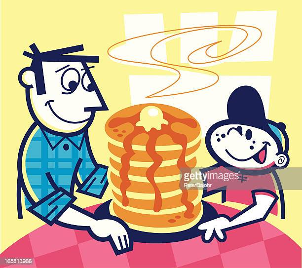 stack of pancakes! - maple syrup stock illustrations