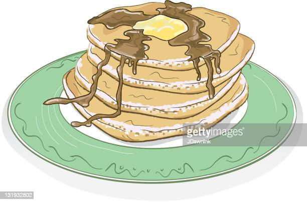 Stack of pancakes with syrup and butter on a plate