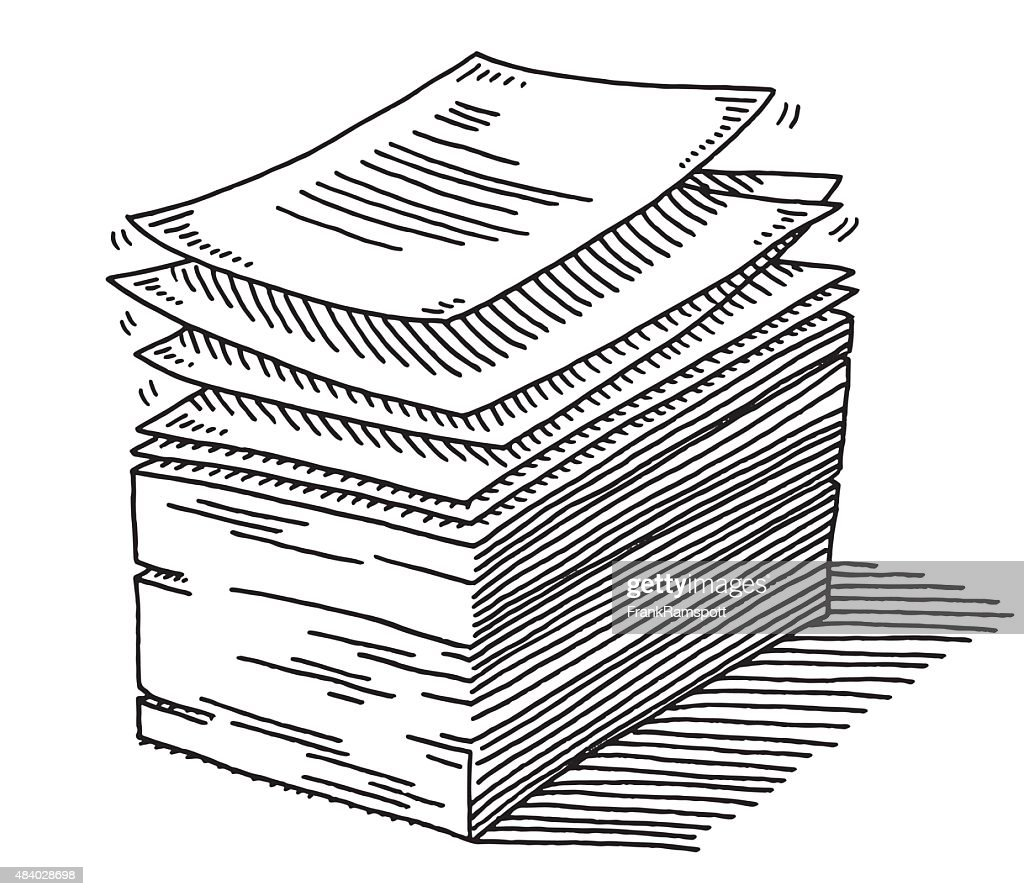 Stack Of Paper Documents Drawing Vector Art | Getty Images