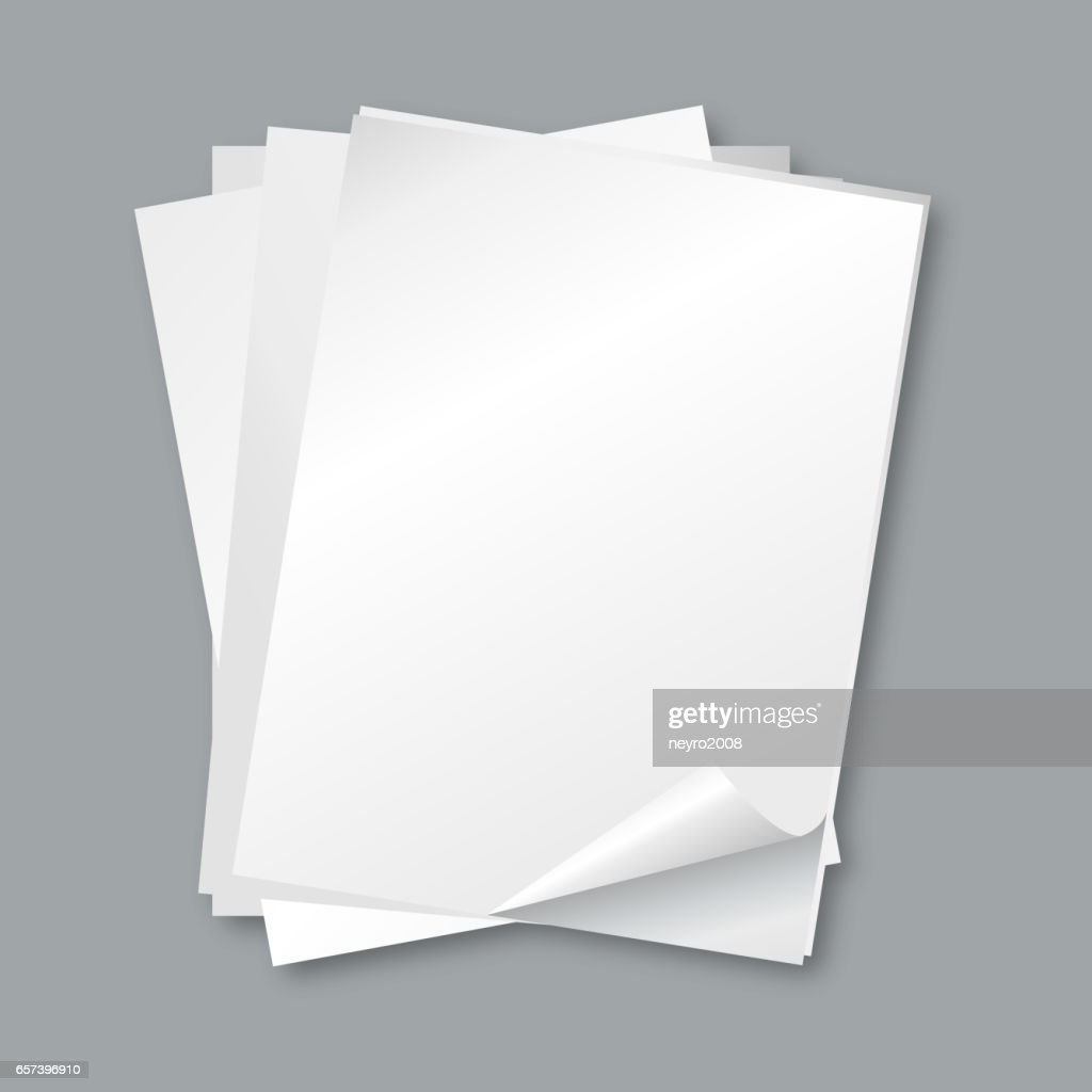 Stack of papers. Isolated blank white paper sheets, letter vector background