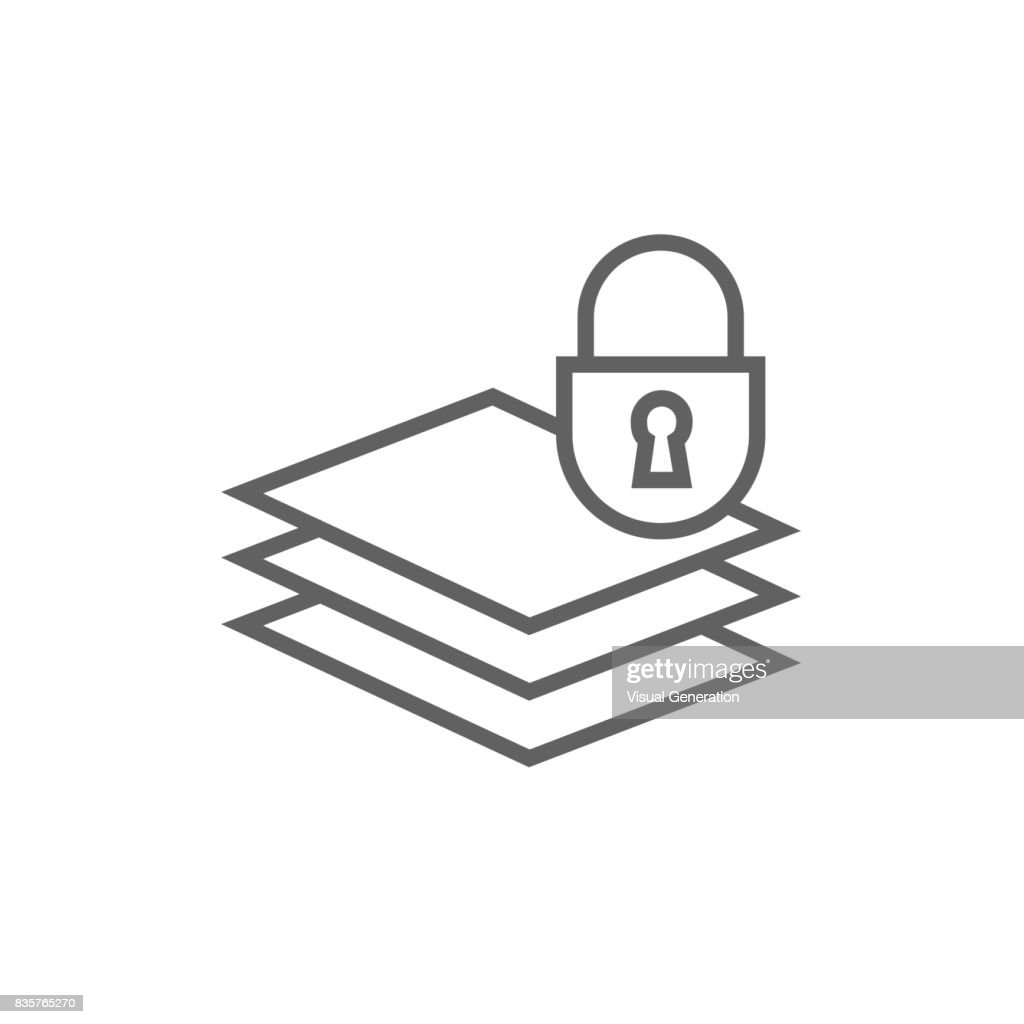 stack of papers with lock line icon vector art   getty images