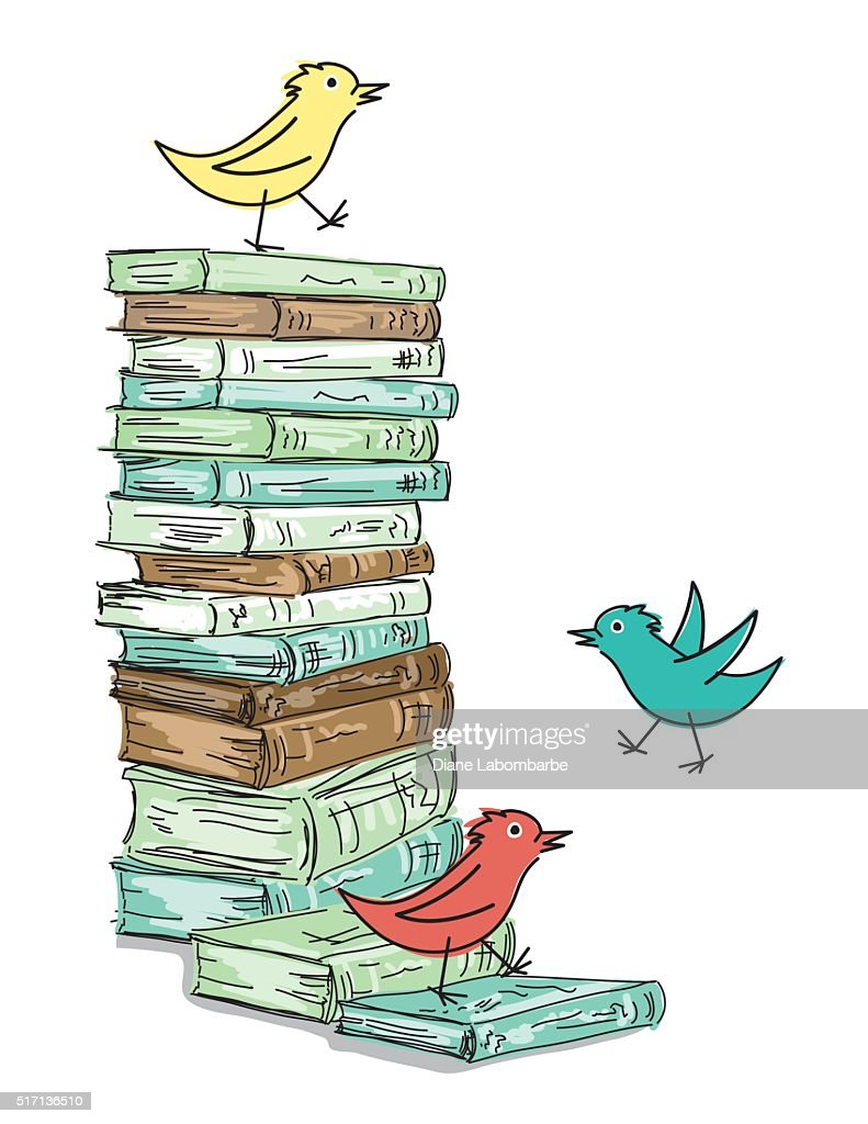 Stack of Sketchy Books With Cartoon Birds