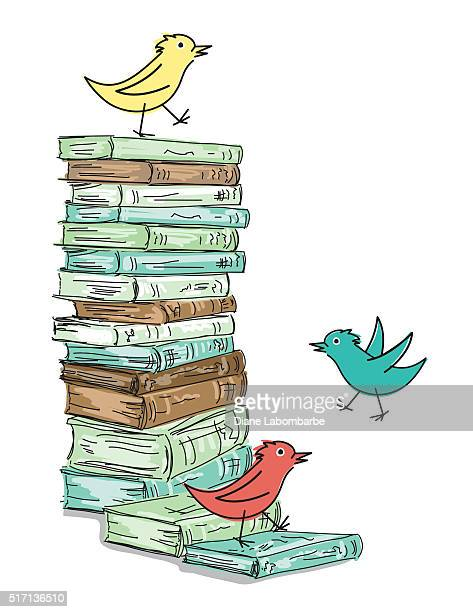 stack of sketchy books with cartoon birds - library stock illustrations, clip art, cartoons, & icons
