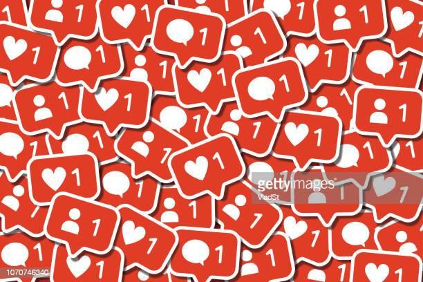 illustrations, cliparts, dessins animés et icônes de pile des médias sociaux networking notifications de chat en ligne - génération du millénaire