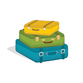 Stack of suitcases isolated on white background. Travel baggage luggage. Illustration for travel, holidays, trips.