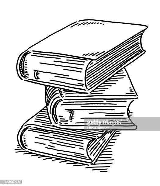 stack of three books drawing - encyclopaedia stock illustrations, clip art, cartoons, & icons
