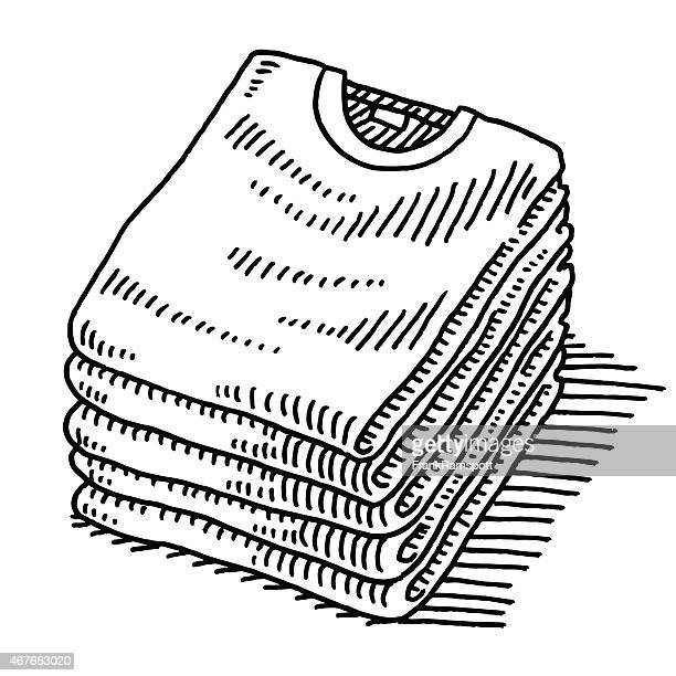 Stack Of T-Shirts Clothing Drawing