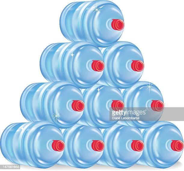 stack of water jugs - jug stock illustrations, clip art, cartoons, & icons