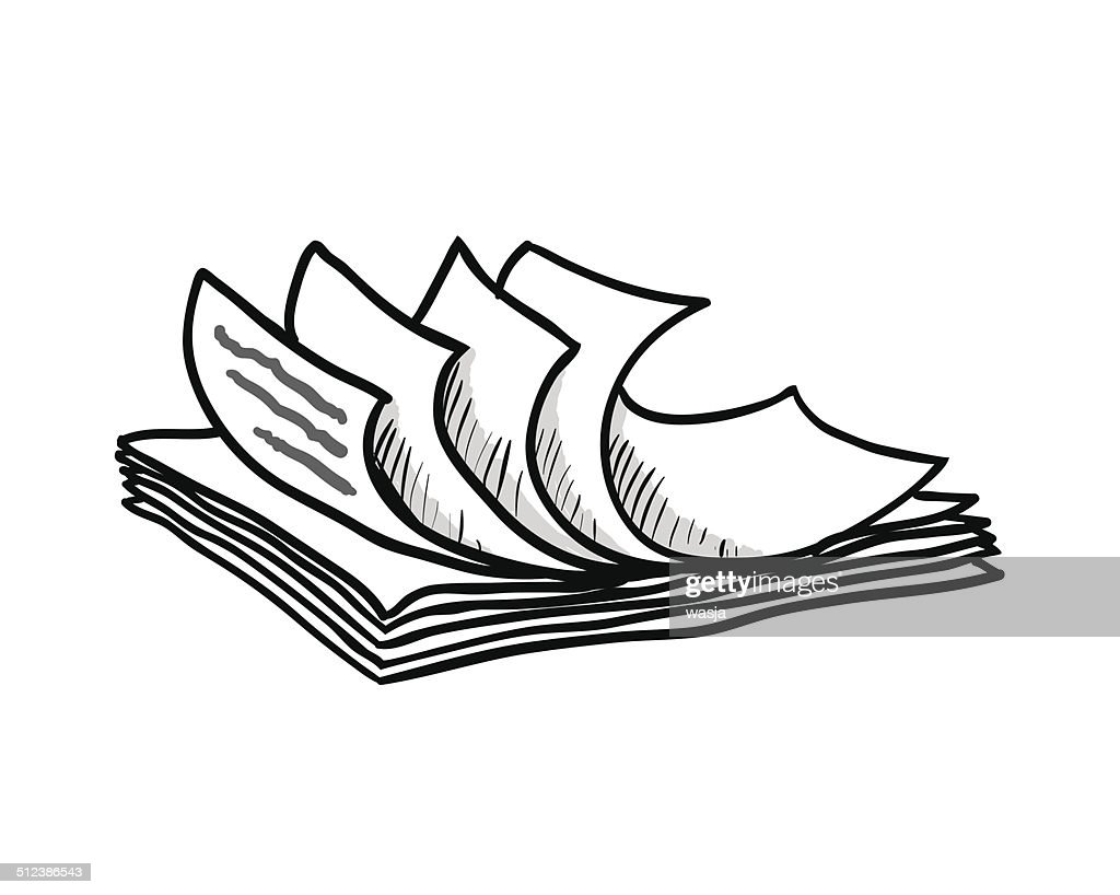 stack of white papers, hand drawn style, vector