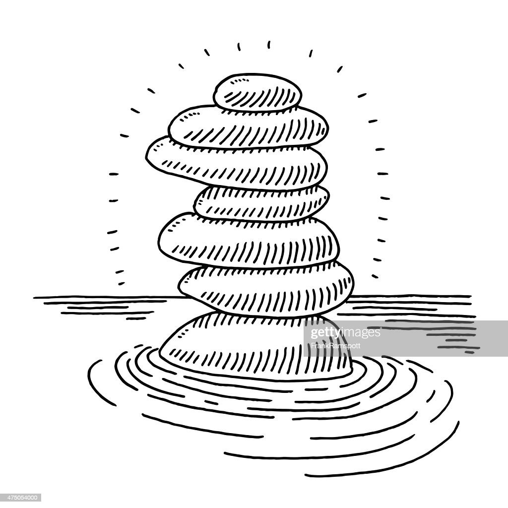 Stack Of Zen Stones In Water Drawing : stock illustration