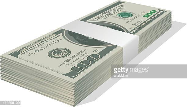 スタックの 100 ドル紙幣