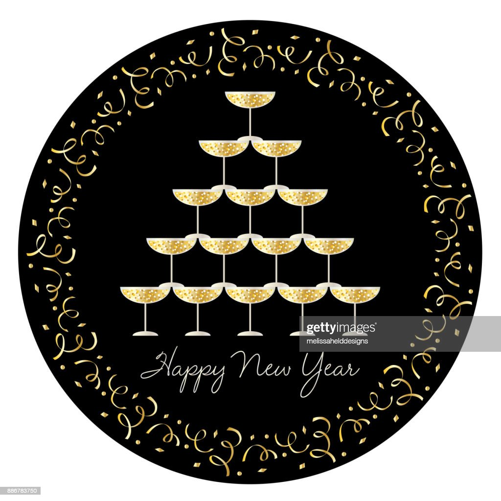 Stacked Champagne Glasses With Confetti Circle Frame stock vector