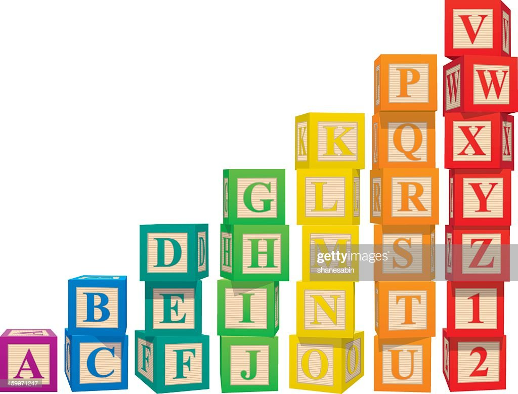 Stacked colorful alphabet blocks