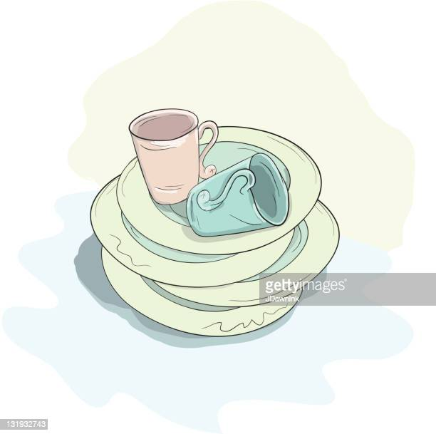 stacked cups and plates - washing dishes stock illustrations, clip art, cartoons, & icons