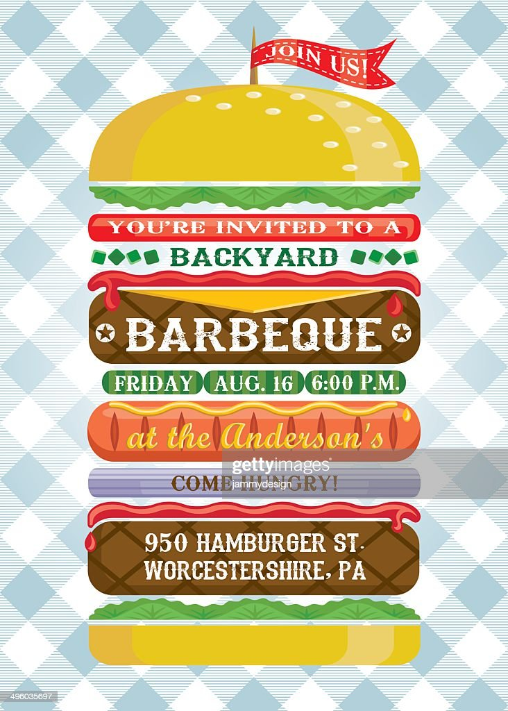 Stacked Hamburger BBQ Invitation