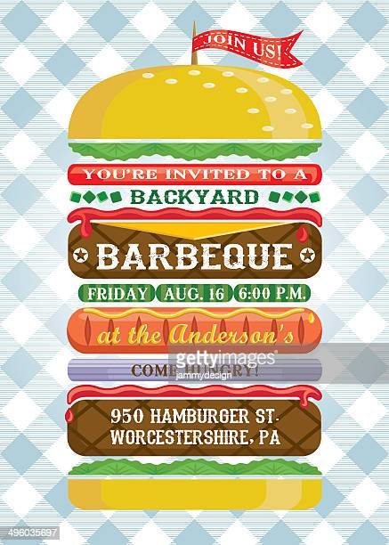 gestapelte hamburger barbecue-einladung - party stock-grafiken, -clipart, -cartoons und -symbole