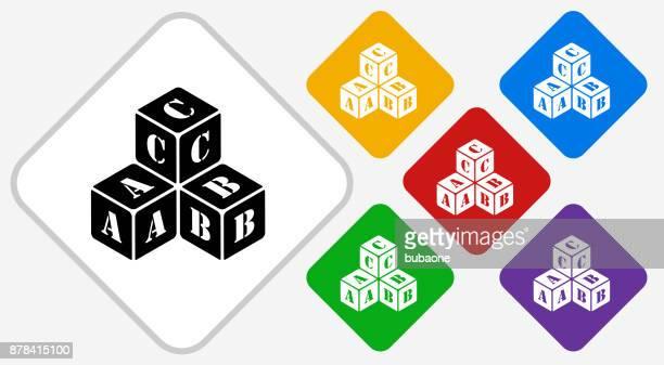 illustrations, cliparts, dessins animés et icônes de lettre empilées blocs couleur diamant vector icon - jeu de construction