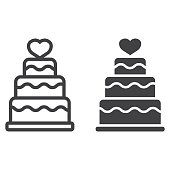 Stacked love cake line and glyph icon, valentines day and romantic, wedding cake sign vector graphics, a linear pattern on a white background, eps 10.