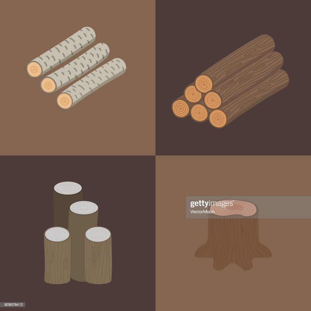 Stacked wood vector pine timber for construction building cut stump lumber tree bark materials illustration