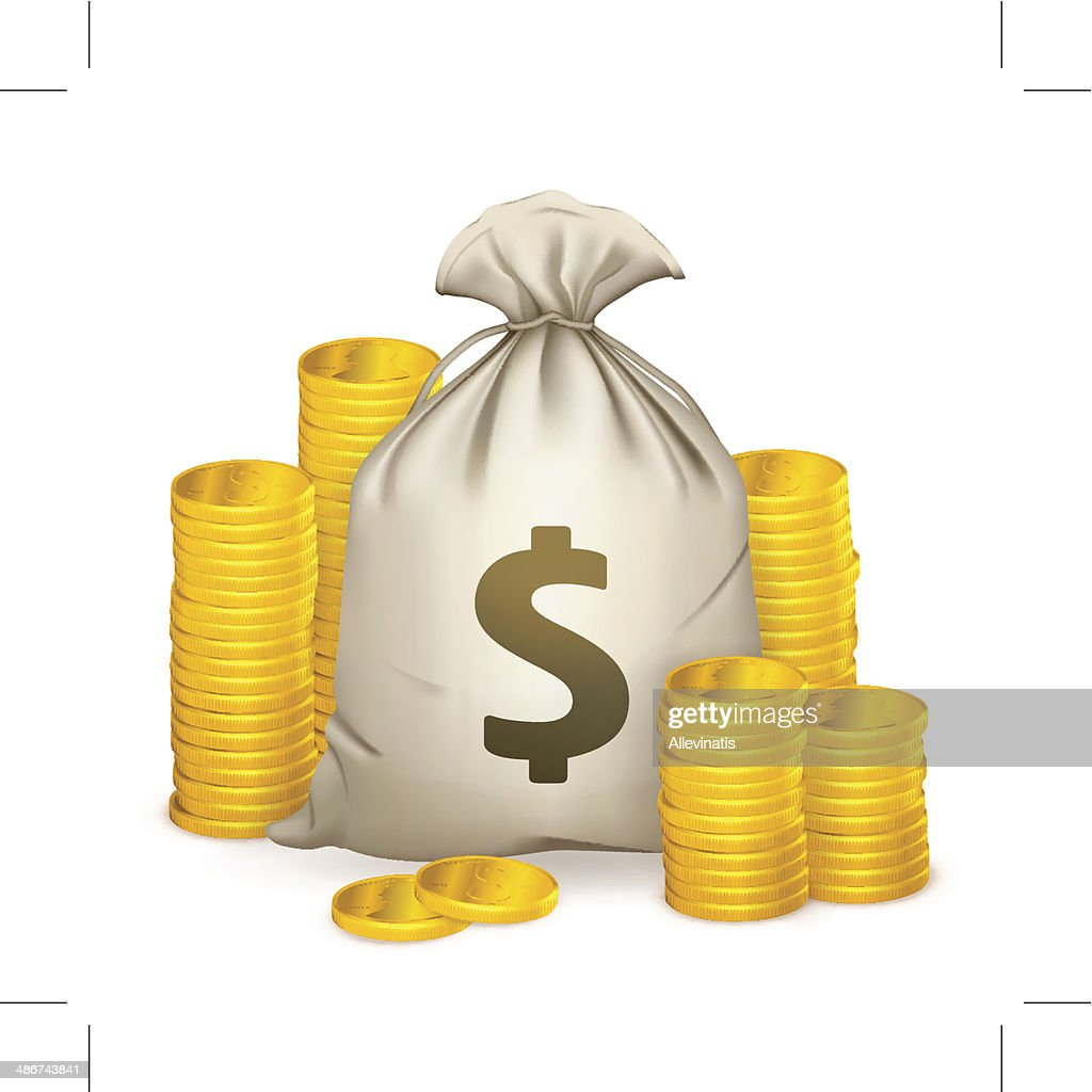 Stacks of coins and money bag