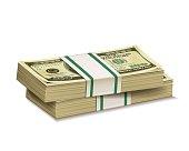 Stacks of dollar bill.