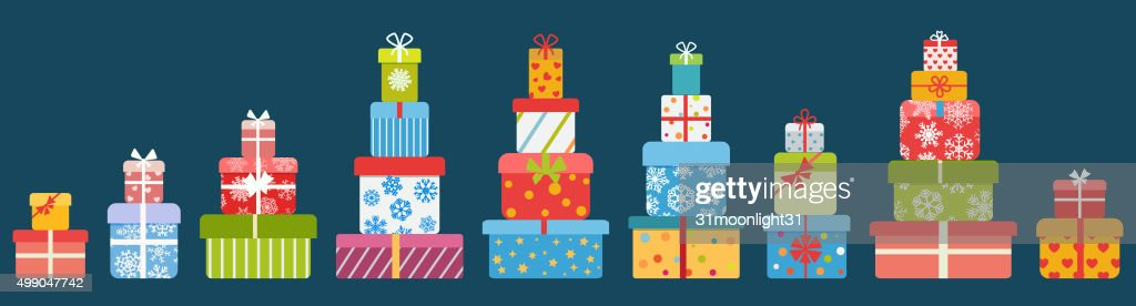 Stacks of gift boxes. Flat design