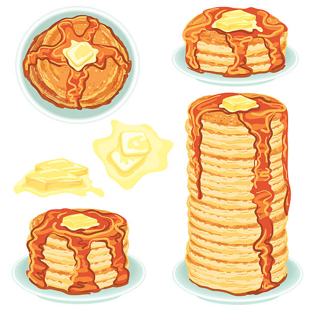 stacks of pancakes with butter and syrup - melting stock illustrations
