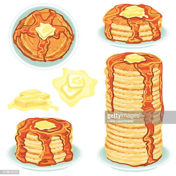 Stacks Of Pancakes With Butter And Syrup
