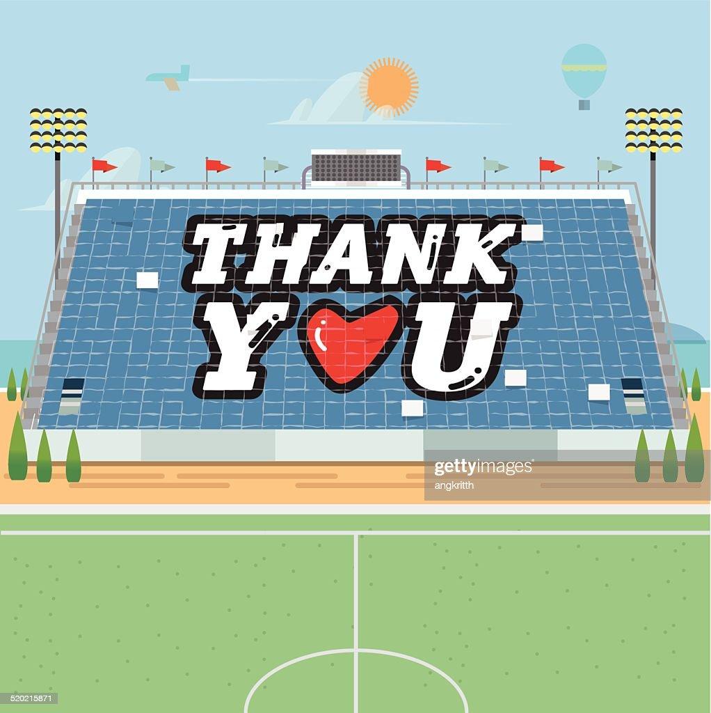 stadium card stunts. thank you - vector illustration