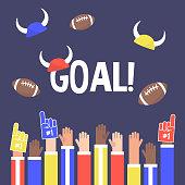 Stadium crowd. Goal sign. Raised hands wearing foam fingers. American football fans / flat editable vector illustration, clip art