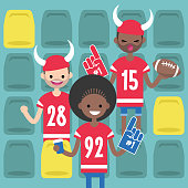 Stadium crowd. Interracial characters wearing american football uniforms, horned hats and foam fingers. American football fans / flat editable vector illustration, clip art