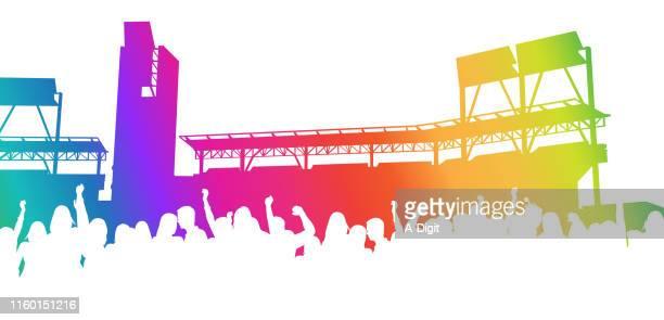 ilustraciones, imágenes clip art, dibujos animados e iconos de stock de stadium crowd rainbow - alzar los brazos