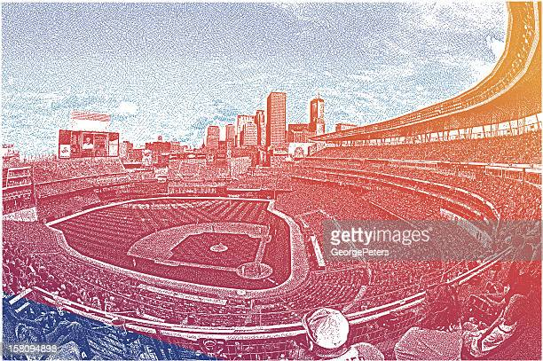 stadium crowd - baseball stock illustrations, clip art, cartoons, & icons