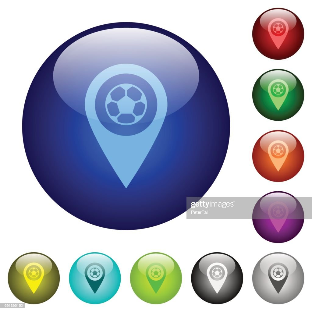 Stadium GPS map location color glass buttons