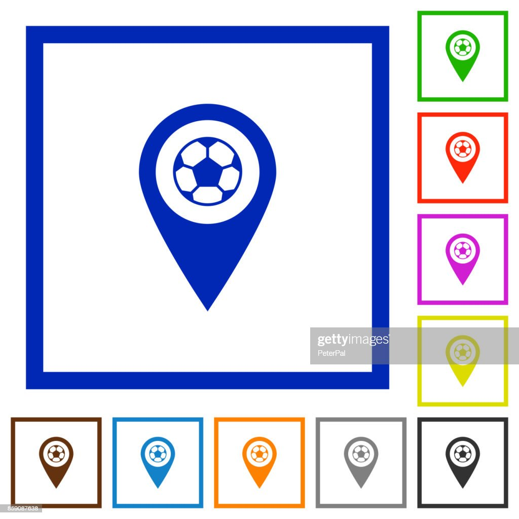 Stadium GPS map location flat framed icons