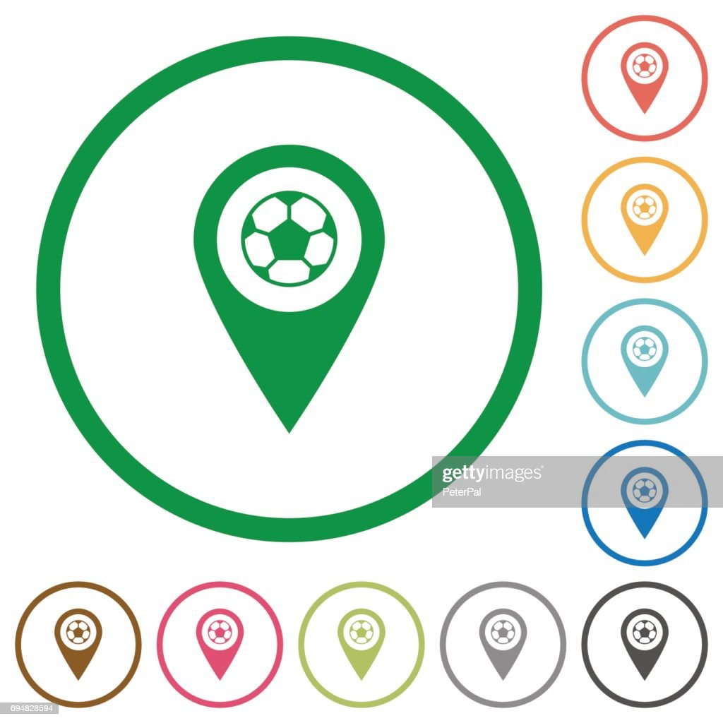 Stadium GPS map location flat icons with outlines