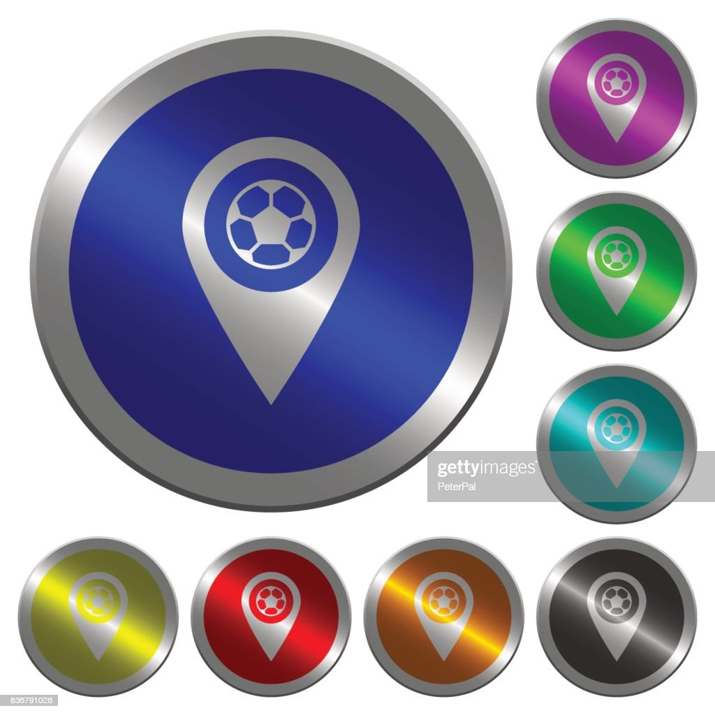 Stadium GPS map location luminous coin-like round color buttons