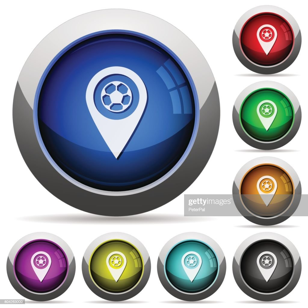 Stadium GPS map location round glossy buttons