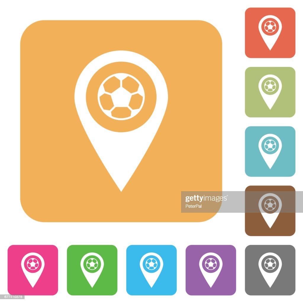 Stadium GPS map location rounded square flat icons