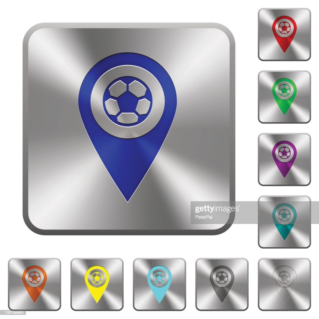 Stadium GPS map location rounded square steel buttons