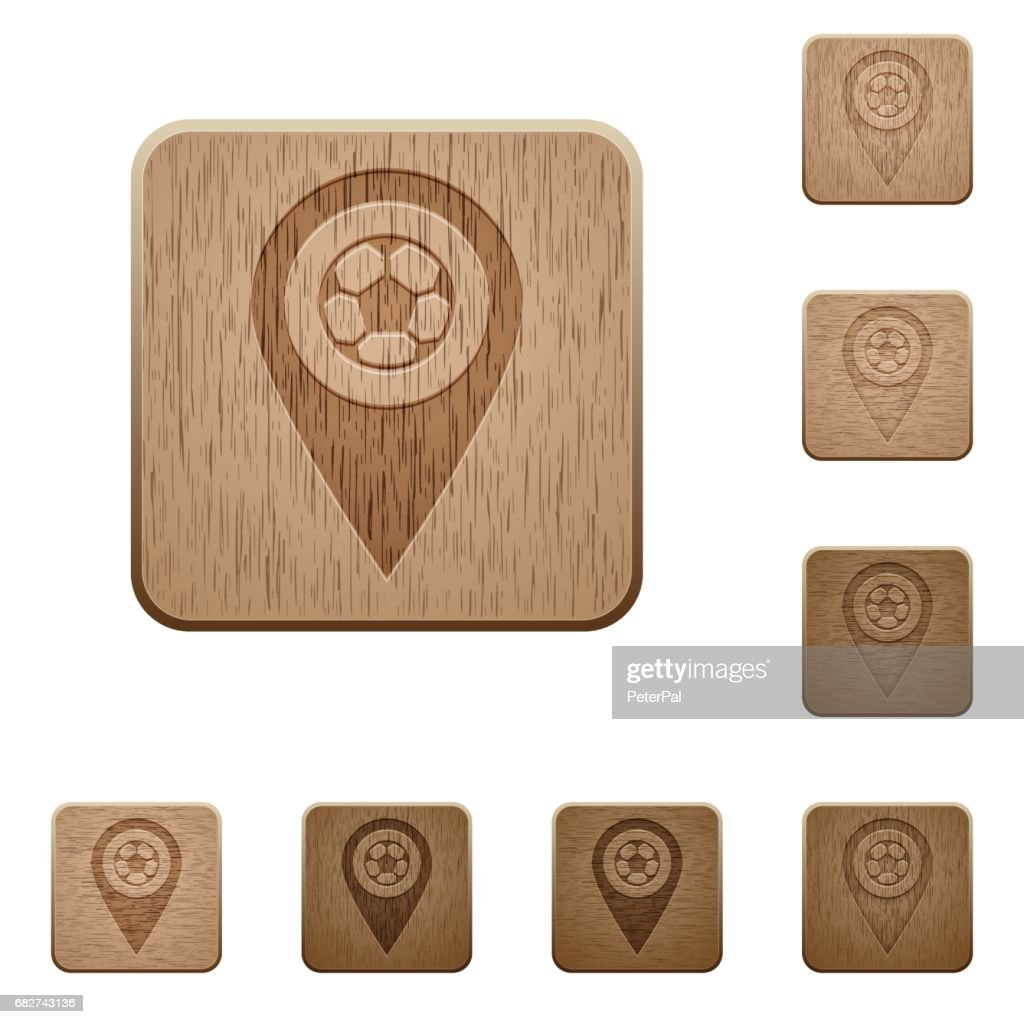 Stadium GPS map location wooden buttons